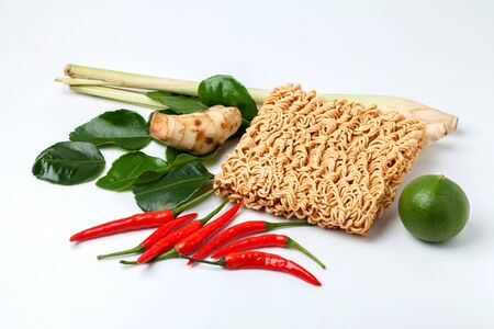 Dry noodle whit some seasoning  chilli,  lemon, ginger, kaffir lime leaf, lemongrass  photo