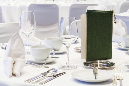 business dinner: dining tool on a dining table