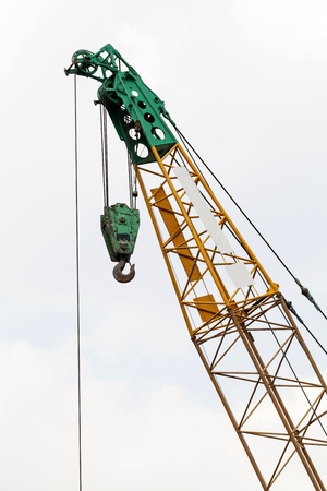 maneuverable: top of cranes at a construction site Stock Photo