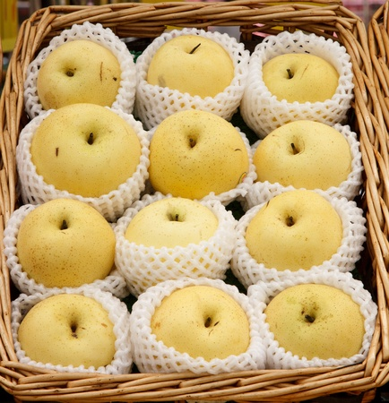 many chinese pear in basket