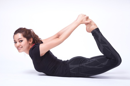 woman in yoga action ( isolated )