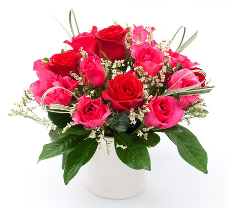 red and pink rose in white vase