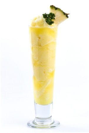 pineapple smoothies on white back ground