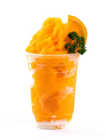 orange smoothies on white background
