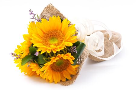 sun flower bouquet on white background photo