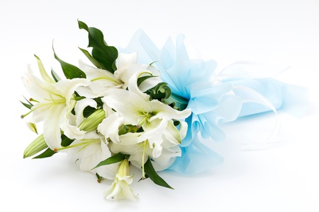 white lily bouquet on white background photo