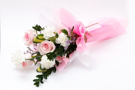 pink bouquet on white background photo