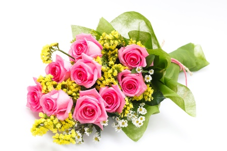 flowers bouquet: pink rose bouguet on white background