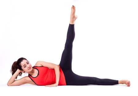 woman in pilates action