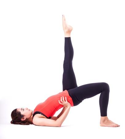 gimnasia aerobica: mujer en acci�n pilates Foto de archivo