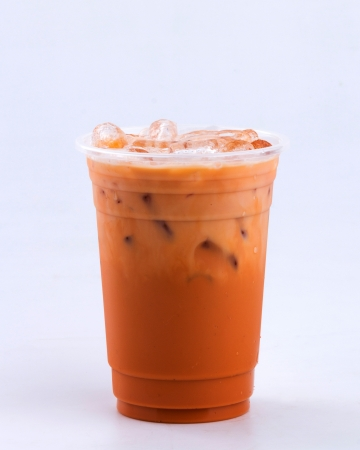 iced milk tea on white background