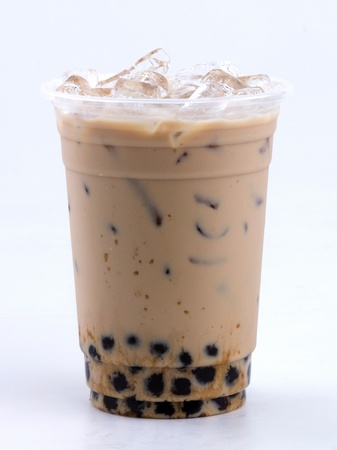 ice water: iced milk tea with bubble