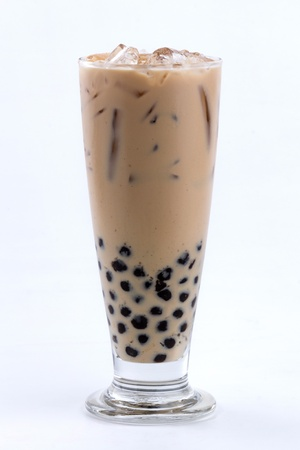 asian flavors: iced milk tea with bubble