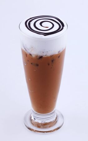 iced cappuccino with chocolate topping photo