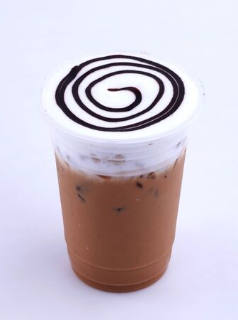 iced cappuccino with chocolate topping