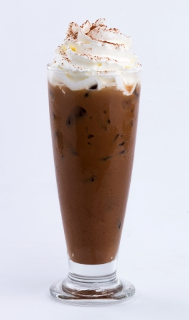 iced mocha with whip cream topping photo