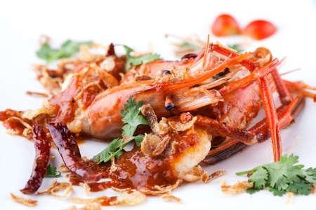 fried prawn with tamarine sauce on white plate photo