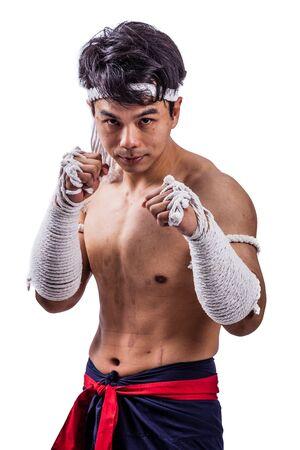 a thai boxer with thai boxing action Stock fotó