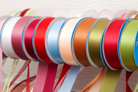 close up colorful ribbon roll