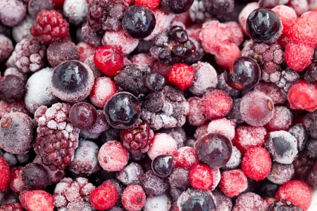 close up of frozen mixberries photo