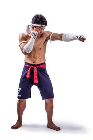 thai boxing: a thai boxer with thai boxing action Stock Photo