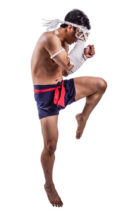 muay: a thai boxer with thai boxing action Stock Photo