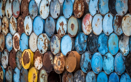 a lot of colorful oil tanks wall photo