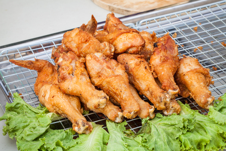 griller: fried chicken wing ready to serve