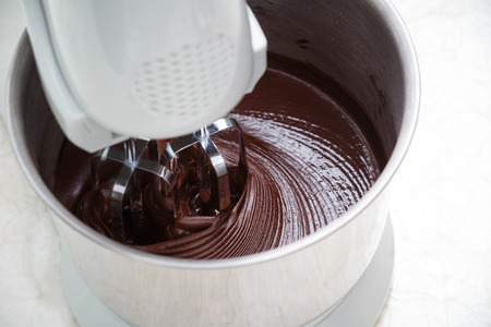 mixing chocolate dough with dough mixer