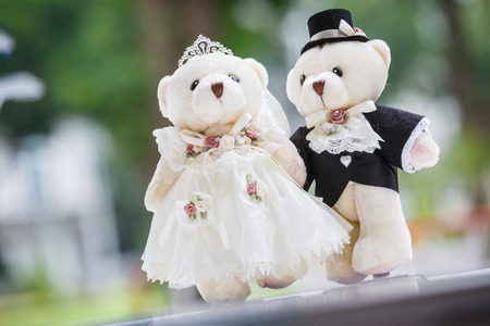 cute couple bears in the wedding style Stock Photo