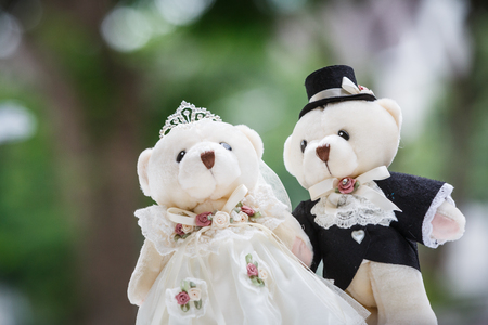toy bear: cute couple bears in the wedding style Stock Photo