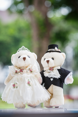 cute couple bear in the wedding ceremony photo