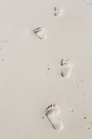 sandy feet: human footprints in the smooth sand
