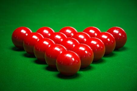 snooker balls: snooker balls set on a green table