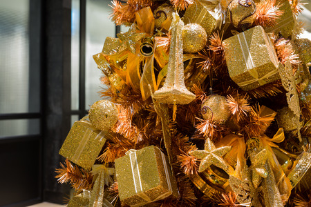 flashy: close up of sparkling golden christmas tree ornament Stock Photo
