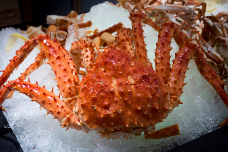close up of all you can eat alaskan king crab and seafood