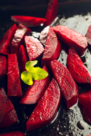Freshly sliced beetroot with oil. Ready for cooking.