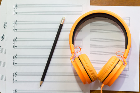 g clef: Writing music notes. Stock Photo