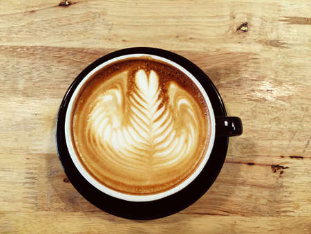 art: Latte art, a cup of coffee. Stock Photo