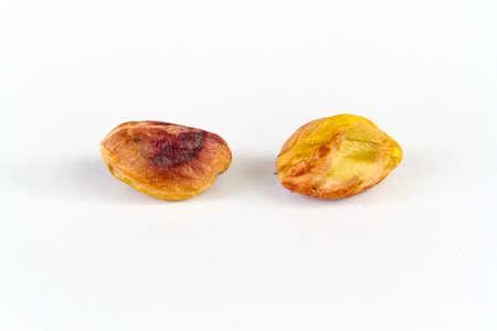 white back ground: twin pistachios on a white back ground Stock Photo