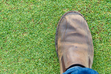 foot step: right foot step in a lawn