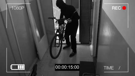 surveillance camera caught the thief broke the door and stole the bike.