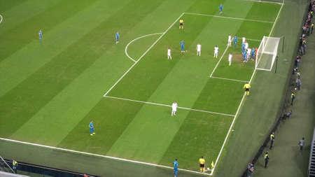SAINT-PETERSBURG , RUSSIA - NOVEMBER 27 2018: tough moment in a football match.