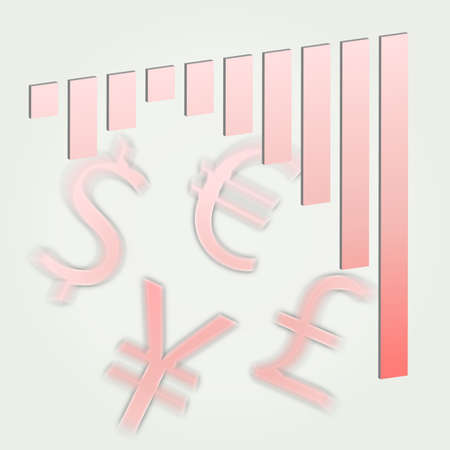 Financial bar graph showing increasing losses extending down into the red in a pale pink with currency symbols for the dollar, euro, yen, and pound photo