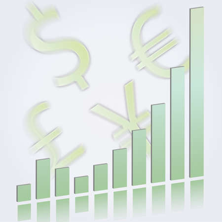 Vector illustration of an ascending bar graph showing growth and increasing performance or profits in pale green on a reflective surface with currency symbols for the dollar, euro, yen, and pound