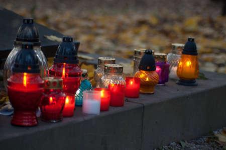 Memorial candles on the All Saints Day