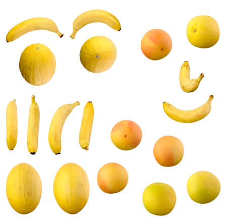 Set includes isolated bananas, oranges, lemons, melon Galia melon yellow, white grapefruit, red grapefruit  Paths included  As you can see I made eyes and smiling face from this fruits  Opportunities are endless for creative person  Stock Photo