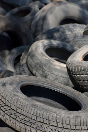 Pile of used old rubber tire Stock Photo