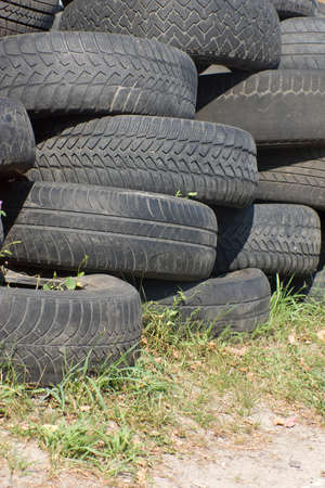 Pile of used old rubber tire Stock Photo - 24055141