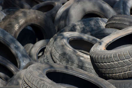 Pile of used old rubber tire Stock Photo - 24058289